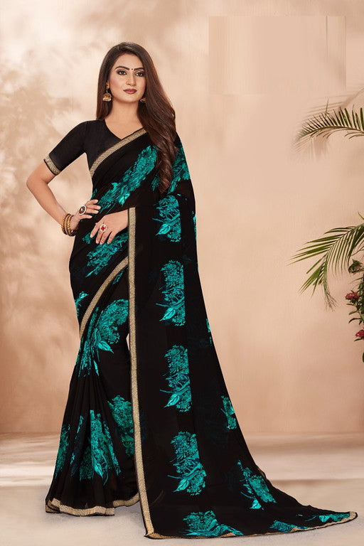 Black and Blue Color Georgette Casual Wear Saree -Ladli Bahu  Collection  YF#11270