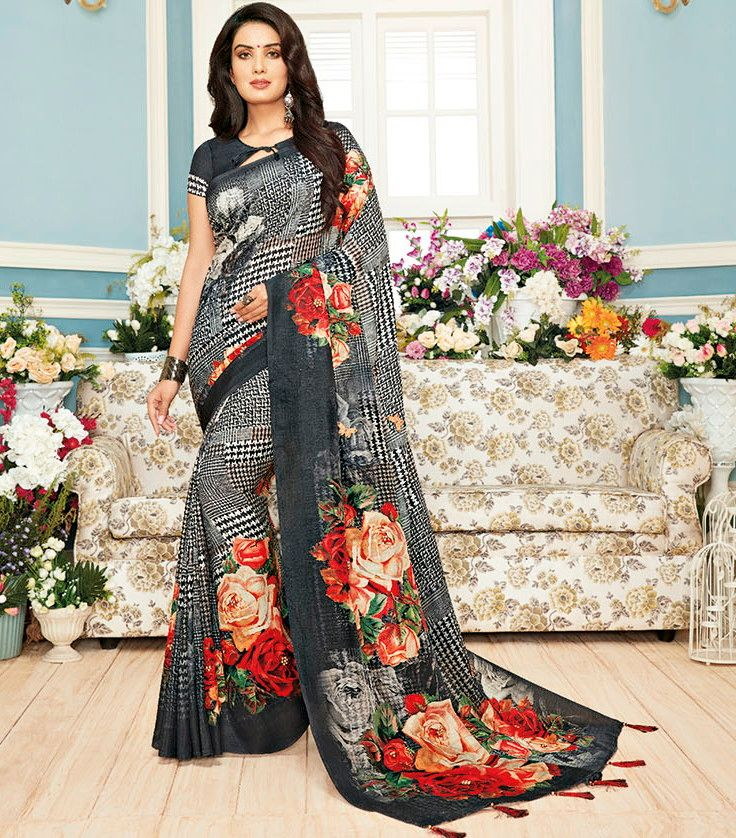 Black Color Chiffon Designer Festive Sarees : Preshan Collection  NYF-2100 - YellowFashion.in