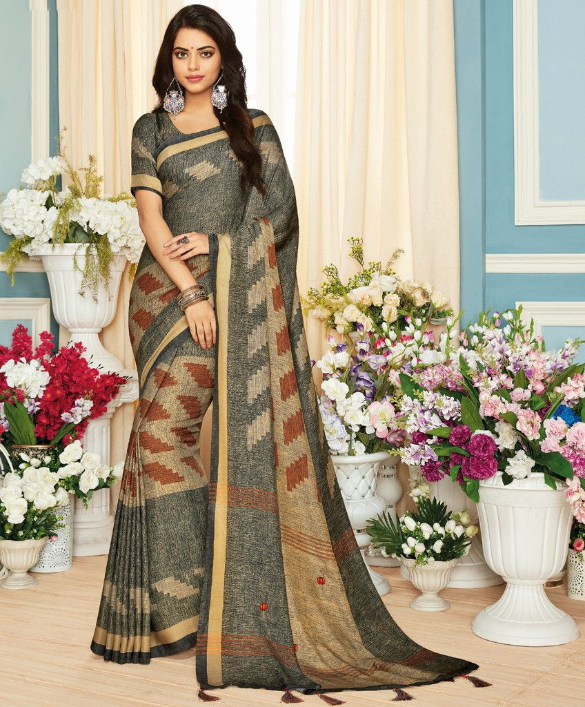 Grey Color Pashmina Silk Designer Festive Sarees : Preshan Collection  NYF-2092 - YellowFashion.in