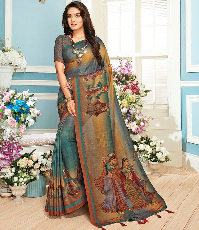 Multi Color Cotton Silk Designer Festive Sarees : Preshan Collection  NYF-2103 - YellowFashion.in