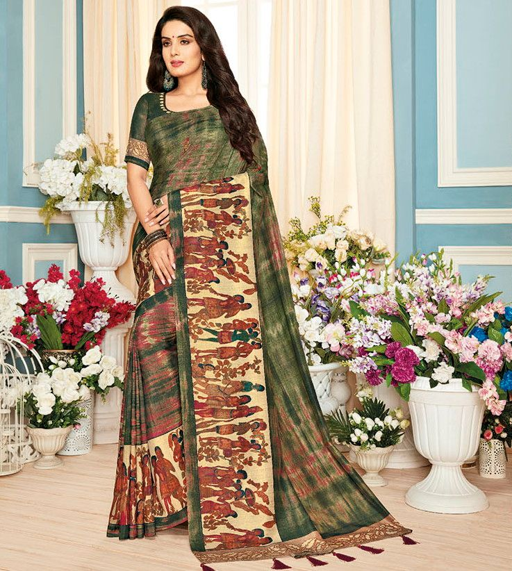 Mehendi Green Color Cotton Silk Designer Festive Sarees : Preshan Collection  NYF-2105 - YellowFashion.in