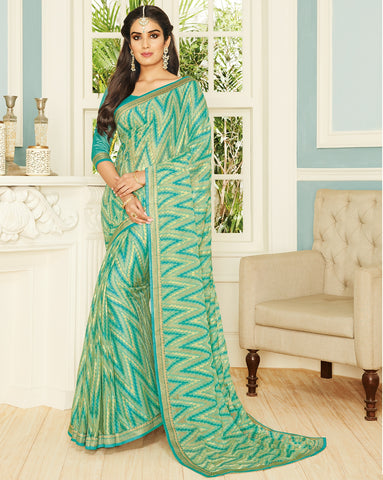 Green Color Chiffon Brasso Designer Party Wear Sarees : Pankita Collection YF-70721