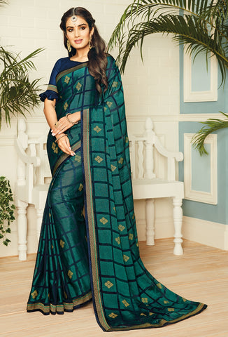 Green & Blue Color Chiffon Brasso Designer Party Wear Sarees : Pankita Collection YF-70725