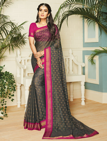 Black Color Chiffon Brasso Designer Party Wear Sarees : Pankita Collection YF-70727