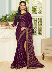 Purple Color Chiffon Brasso Designer Party Wear Sarees : Pankita Collection YF-70728