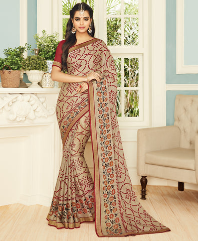 Beige Color Chiffon Brasso Designer Party Wear Sarees : Pankita Collection YF-70730