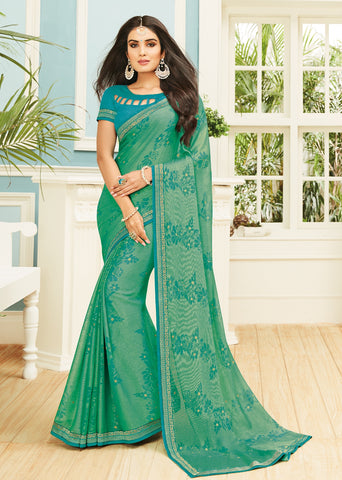 Green Color Chiffon Brasso Designer Party Wear Sarees : Pankita Collection YF-70731