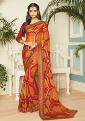 Orange & Red Color Chiffon Brasso Designer Party Wear Sarees : Pankita Collection YF-70732