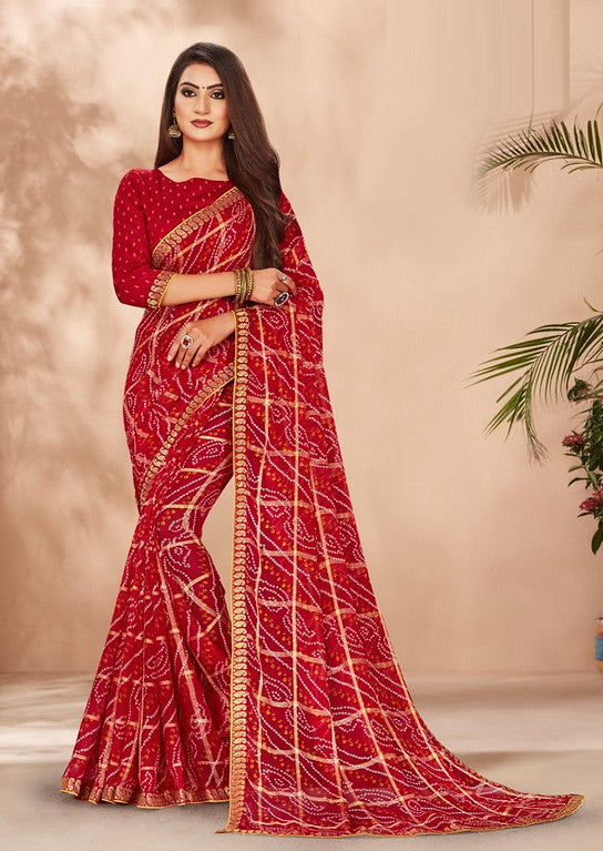 Red Color Chiffon Casual Wear Saree -Ladli Bahu  Collection  YF#11271