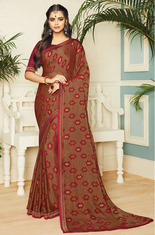 Copper & Red Color Chiffon Brasso Designer Party Wear Sarees : Pankita Collection YF-70734