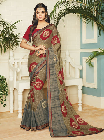 Multi Color Chiffon Brasso Designer Party Wear Sarees : Pankita Collection YF-70736