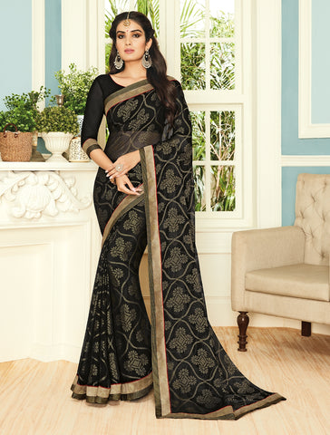 Black Color Chiffon Brasso Designer Party Wear Sarees : Pankita Collection YF-70737