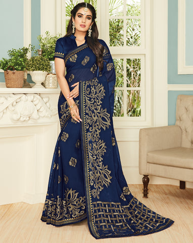 Blue Color Chiffon Brasso Designer Party Wear Sarees : Pankita Collection YF-70739