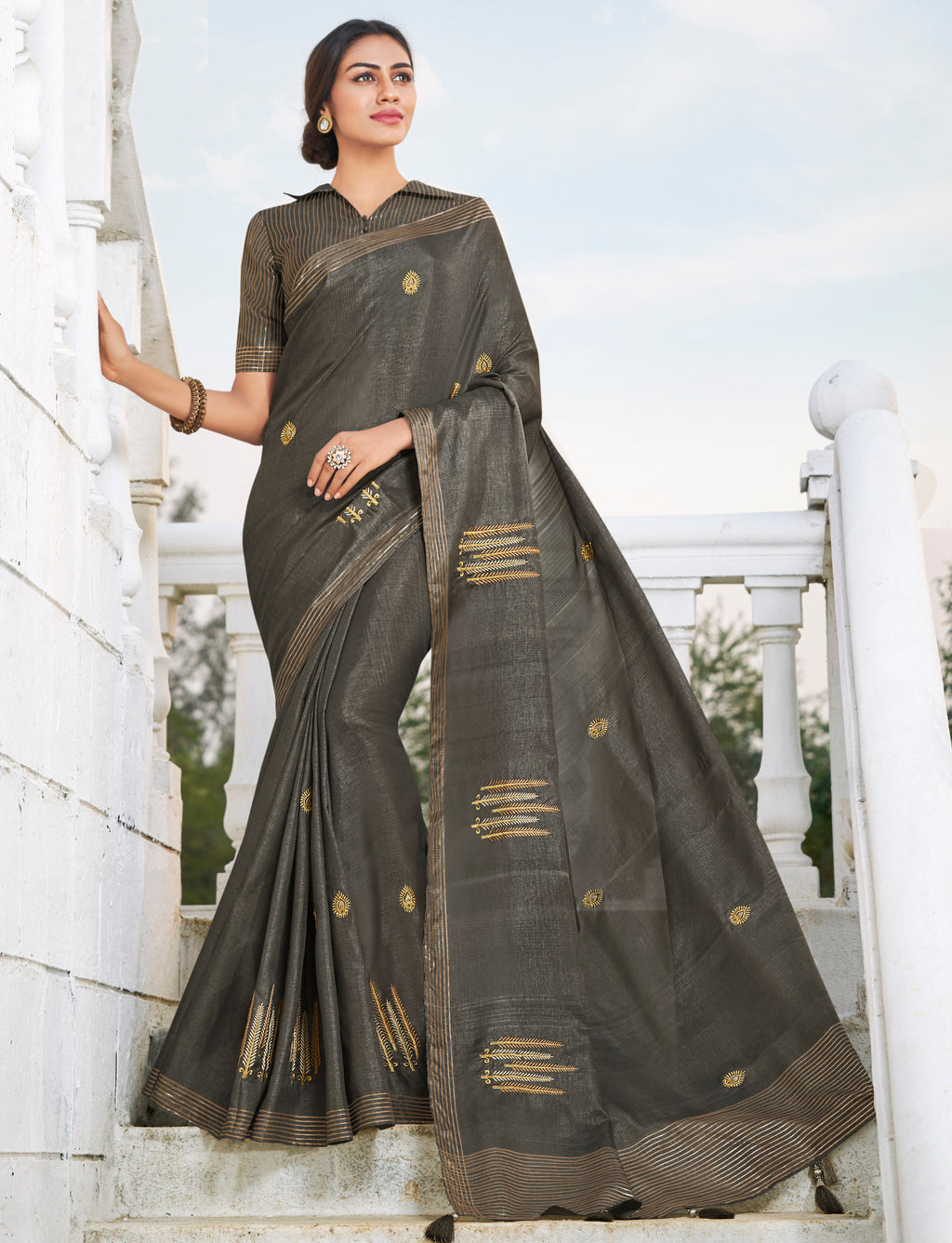 Grey Color Banarasi Cotton Silk  Sarees For Newly Wedded NYF-5704