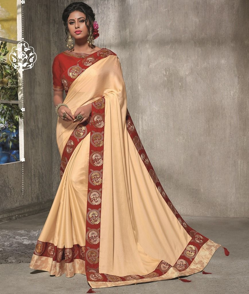 Light Peach Color Two Tone Silk Designer Festive Sarees : Manrisha Collection  NYF-1671 - YellowFashion.in