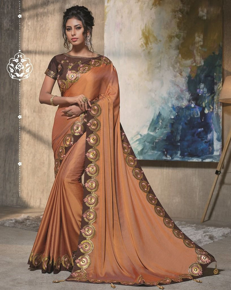 Brown Color Two Tone Silk Designer Festive Sarees : Manrisha Collection  NYF-1672 - YellowFashion.in