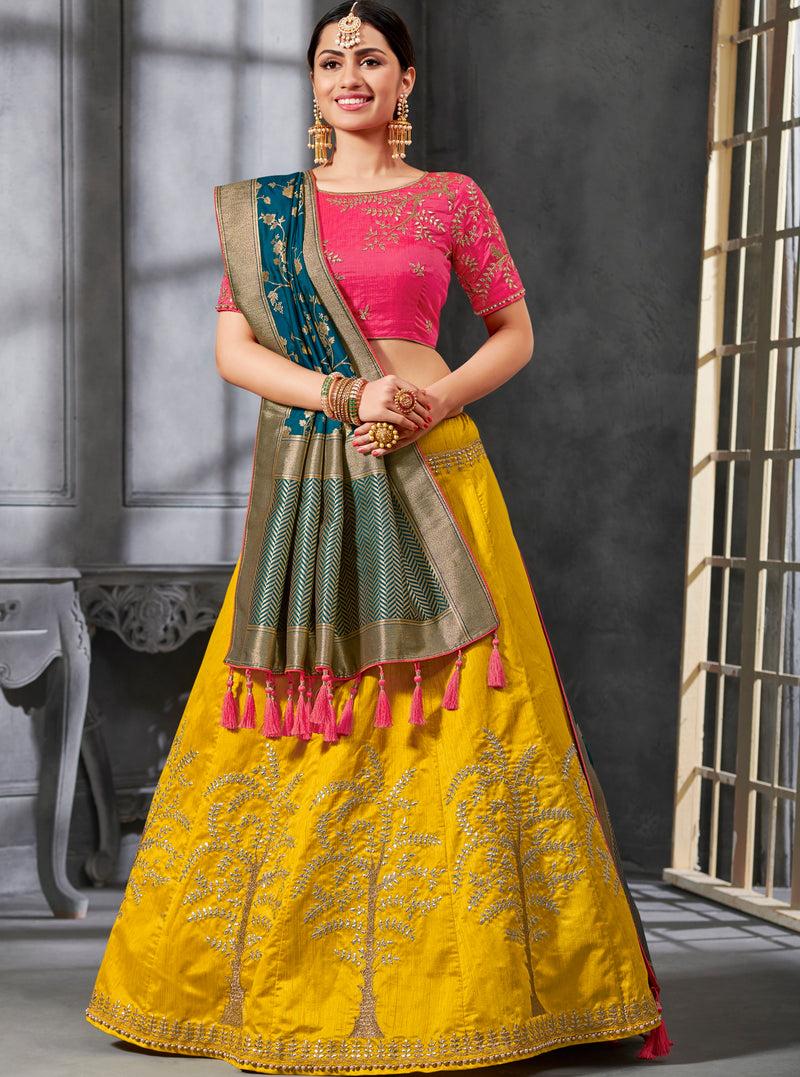 Yellow Color Art Silk Pretty Occasion Wear Lehengas NYF-5204