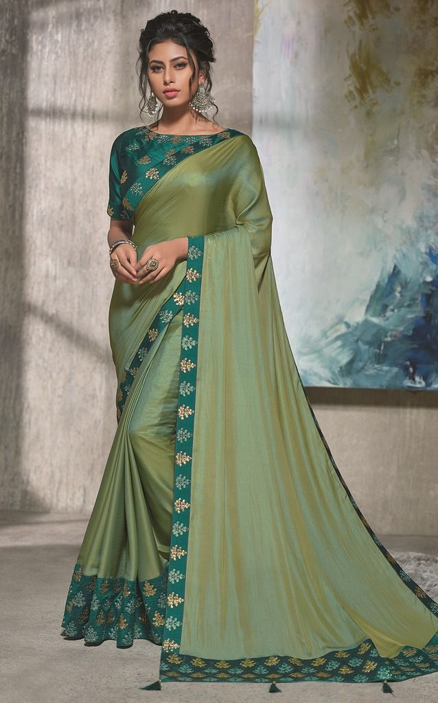 Olive Green Color Two Tone Silk Designer Festive Sarees : Manrisha Collection  NYF-1675 - YellowFashion.in