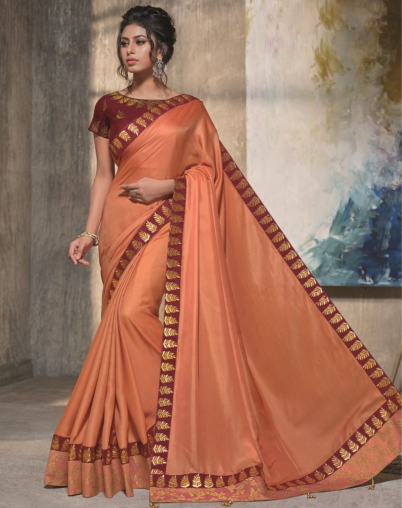 Orange Color Two Tone Silk Designer Festive Sarees : Manrisha Collection  NYF-1676 - YellowFashion.in