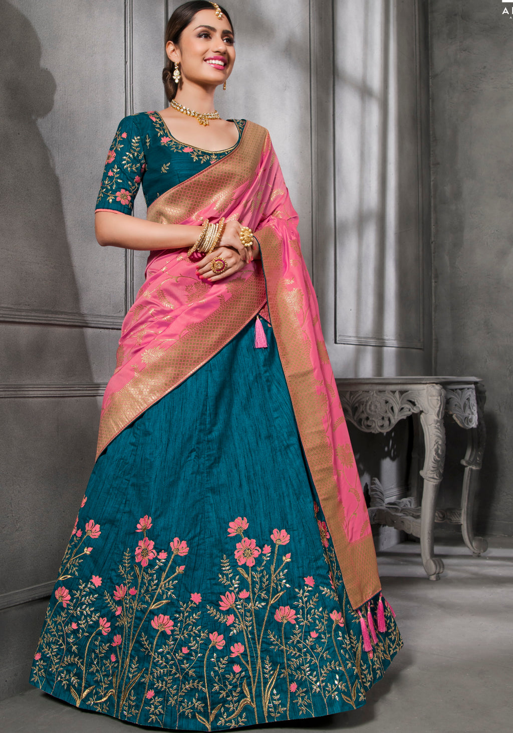Blue Color Art Silk Pretty Occasion Wear Lehengas NYF-5206