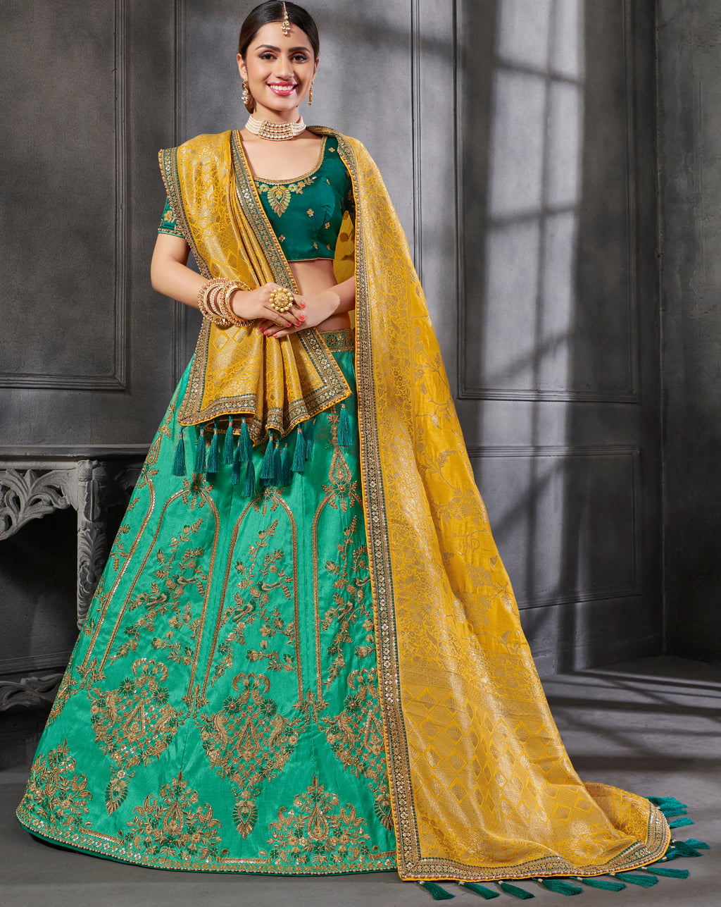 Green Color Art Silk Pretty Occasion Wear Lehengas NYF-5207