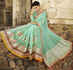 Ocean Green Color Half Net & Half Georgette Designer Bridal Wear Sarees : Rupnikhar Collection  NYF-1458
