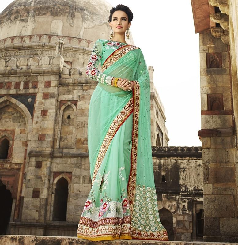 Ocean Green Color Half Net & Half Georgette Designer Bridal Wear Sarees : Rupnikhar Collection  NYF-1458 - YellowFashion.in