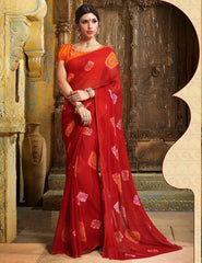 Red Color Chiffon Casual Function Sarees : Prital Collection  YF-41069