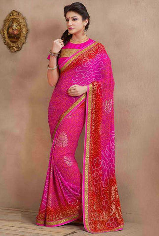 Pink Color Georgette Festival & Function Sarees : Vrinda Collection  YF-26948