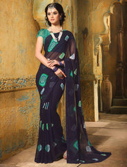 Navy Blue Color Chiffon Casual Function Sarees : Prital Collection  YF-41070
