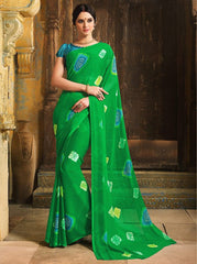 Green Color Chiffon Casual Function Sarees : Prital Collection  YF-41071