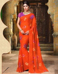 Orange Color Chiffon Casual Function Sarees : Prital Collection  YF-41072