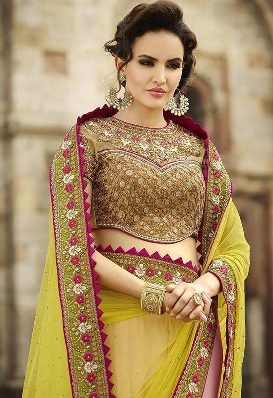 Lime Yellow & Baby Pink Color Half Net & Half Georgette Designer Bridal Wear Sarees : Rupnikhar Collection  NYF-1459 - YellowFashion.in