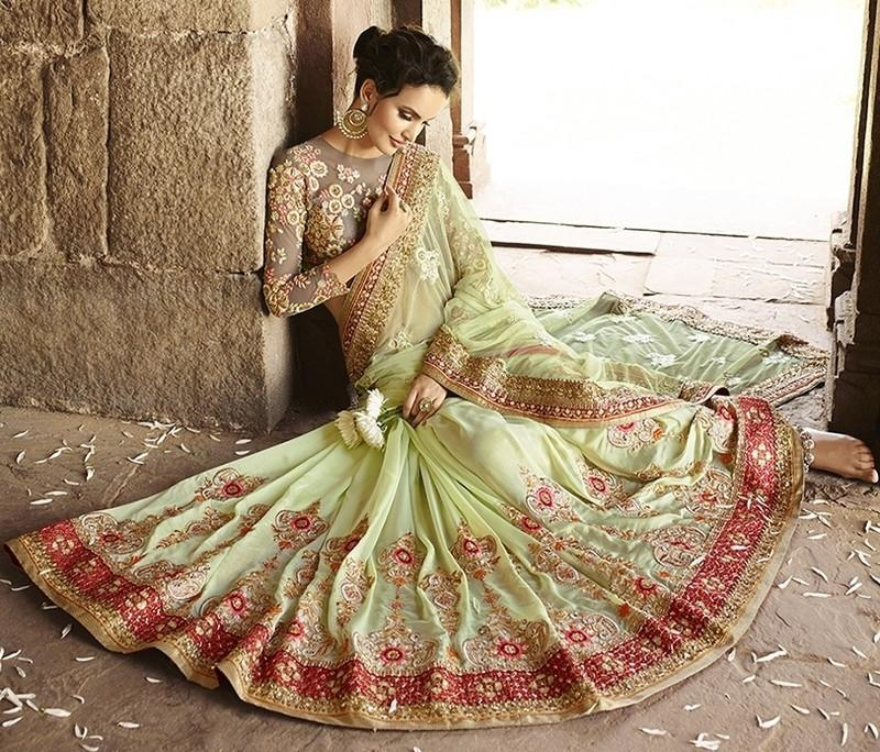 Pastel Green Color Half Net & Half Georgette Designer Bridal Wear Sarees : Rupnikhar Collection  NYF-1460 - YellowFashion.in