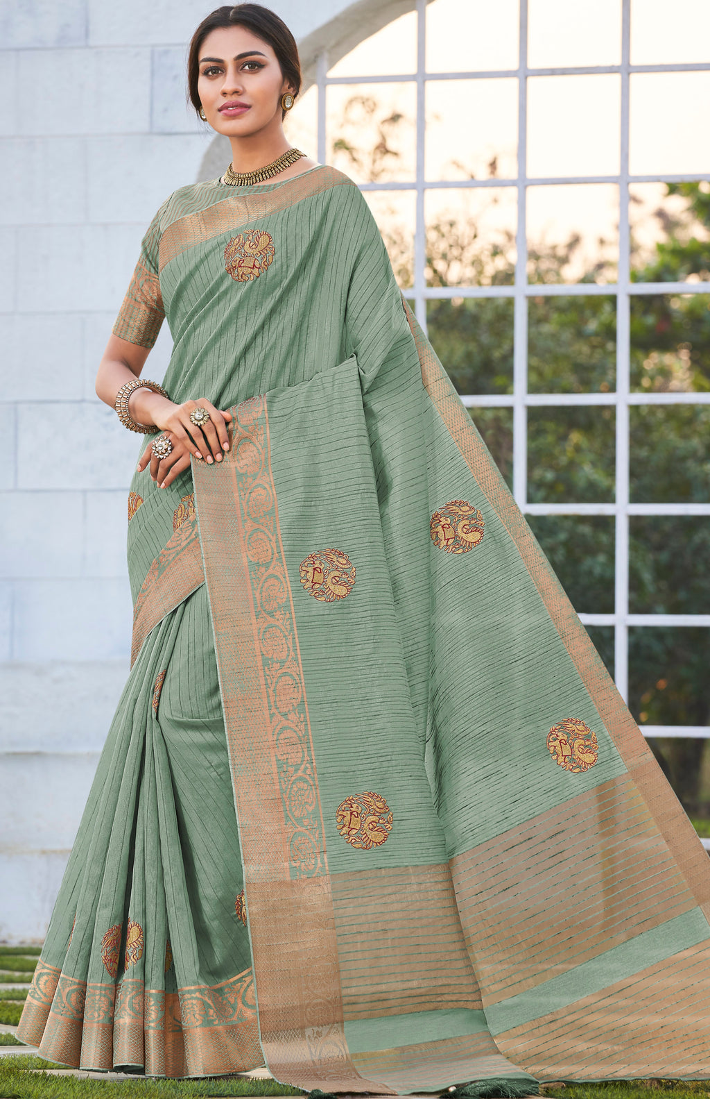 Light Aqua Green Color Banarasi Cotton Silk  Sarees For Newly Wedded NYF-5705