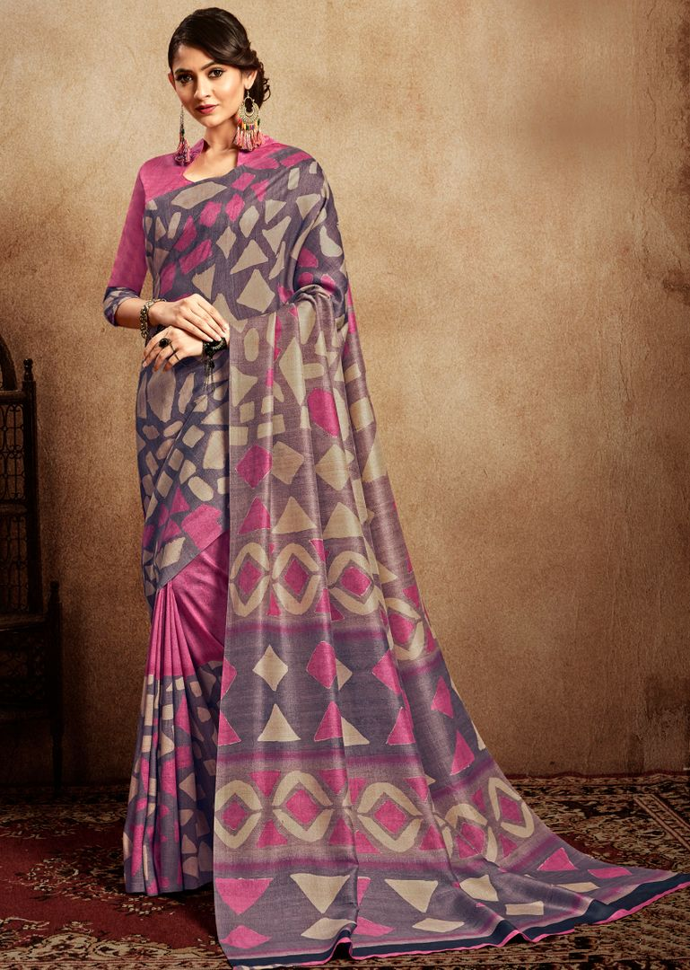 Pink & Purple Color Tusser Silk Digital Print Sarees  NYF-3716 - YellowFashion.in
