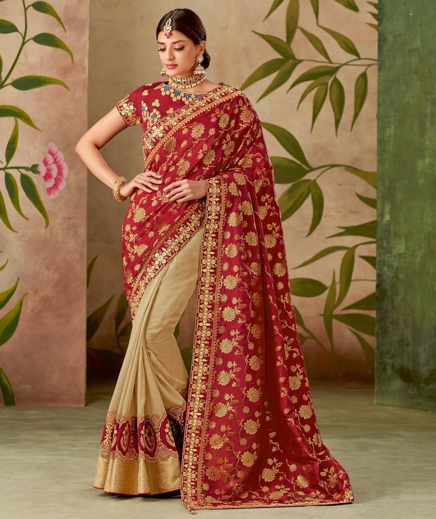 Cream & Maroon Color Art Silk Designer Wedding Wear Sarees : Nirmisha Collection  NYF-1698 - YellowFashion.in
