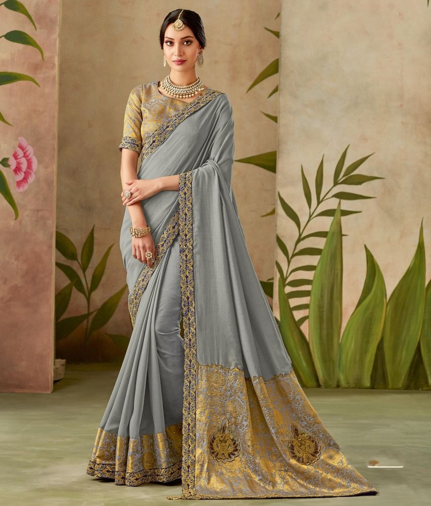 Grey Color Art Silk Designer Wedding Wear Sarees : Nirmisha Collection  NYF-1701 - YellowFashion.in