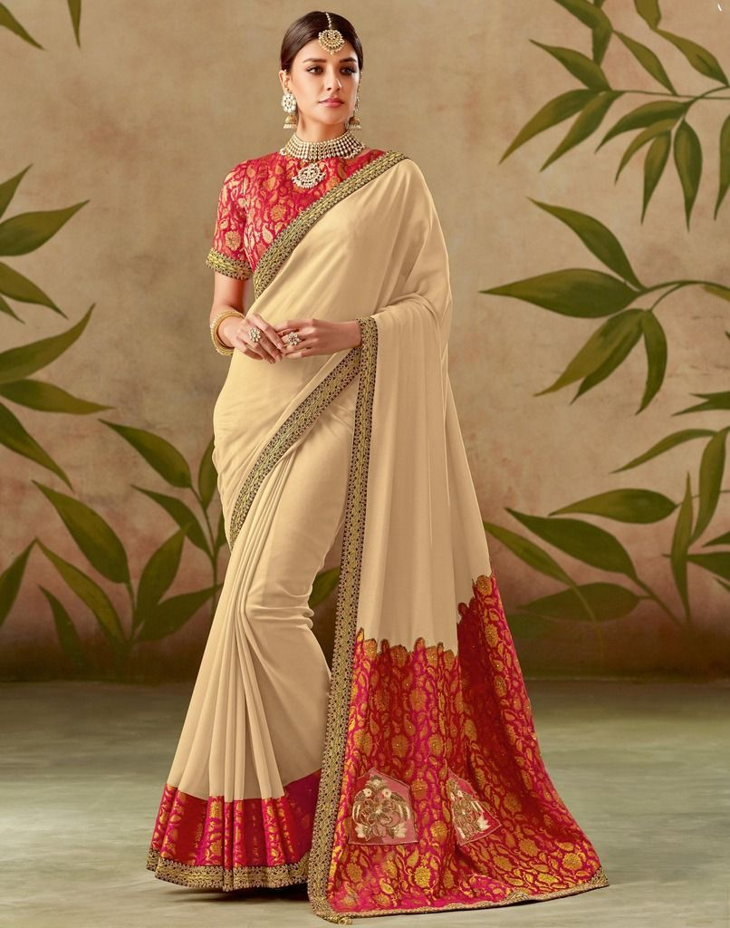 Cream Color Art Silk Designer Wedding Wear Sarees : Nirmisha Collection  NYF-1702 - YellowFashion.in