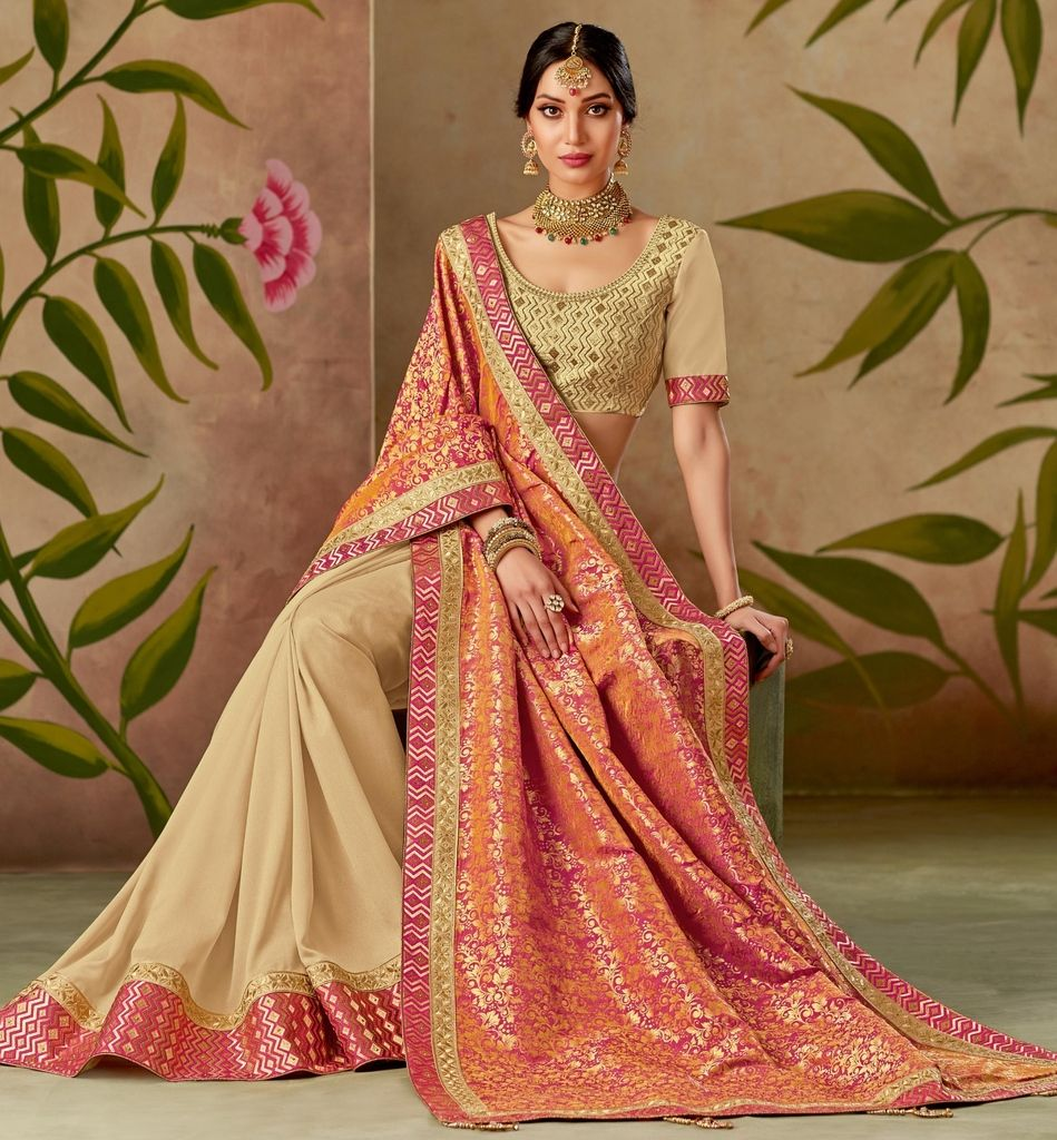 Orange & Cream Color Art Silk Designer Wedding Wear Sarees : Nirmisha Collection  NYF-1704 - YellowFashion.in