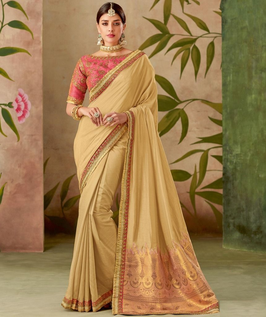 Cream Color Art Silk Designer Wedding Wear Sarees : Nirmisha Collection  NYF-1708 - YellowFashion.in