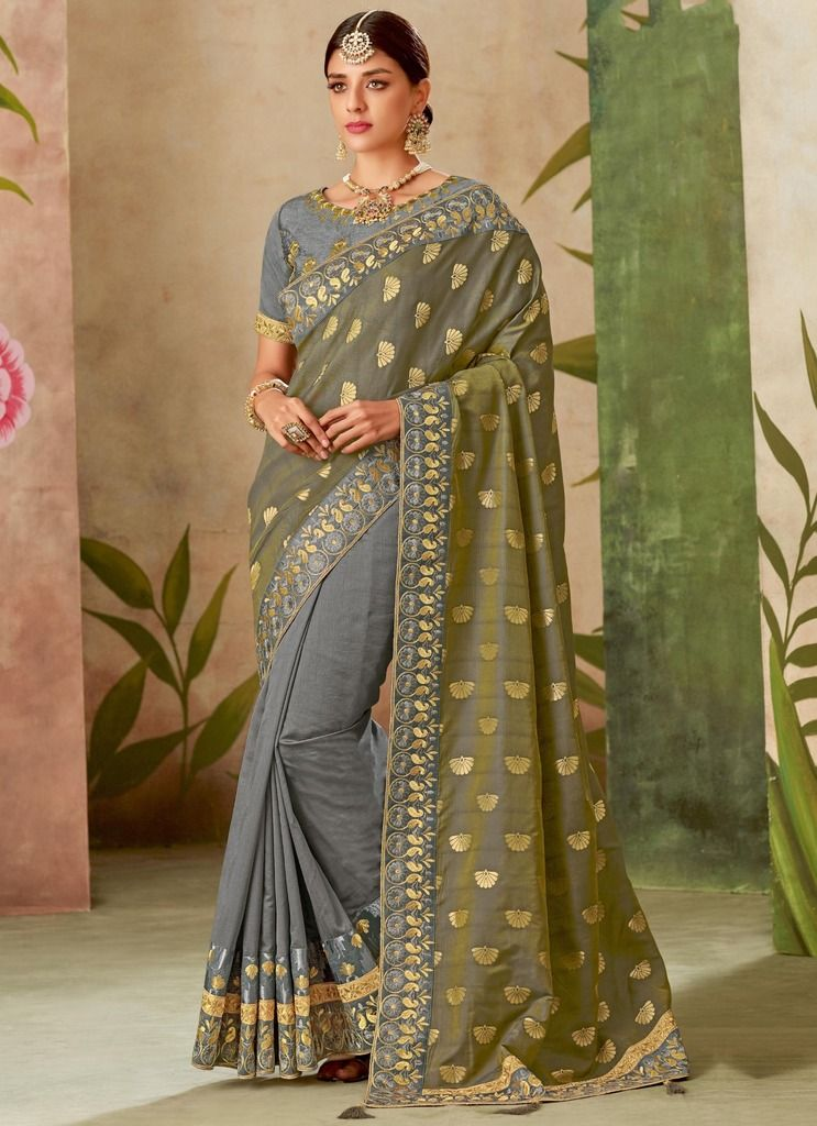 Mehendi Green & Grey Color Art Silk Designer Wedding Wear Sarees : Nirmisha Collection  NYF-1709 - YellowFashion.in