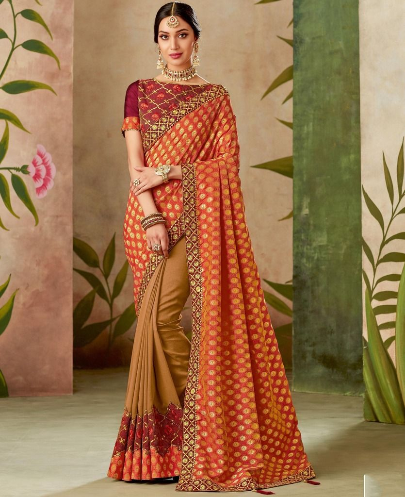 Maroon & Light Coffee Color Art Silk Designer Wedding Wear Sarees : Nirmisha Collection  NYF-1710 - YellowFashion.in