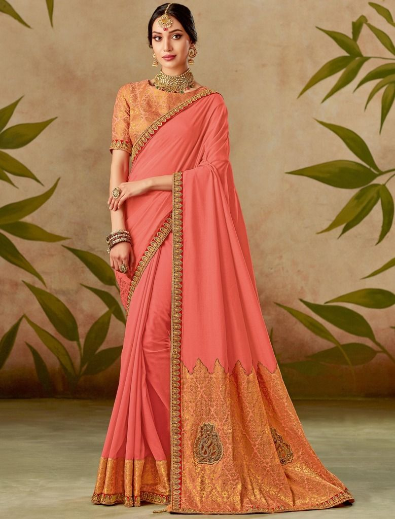 Peach Color Chiffon Designer Wedding Wear Sarees : Nirmisha Collection  NYF-1712 - YellowFashion.in
