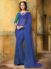 Ink Blue Color Chiffon Casual Function Sarees : Prital Collection  YF-41090