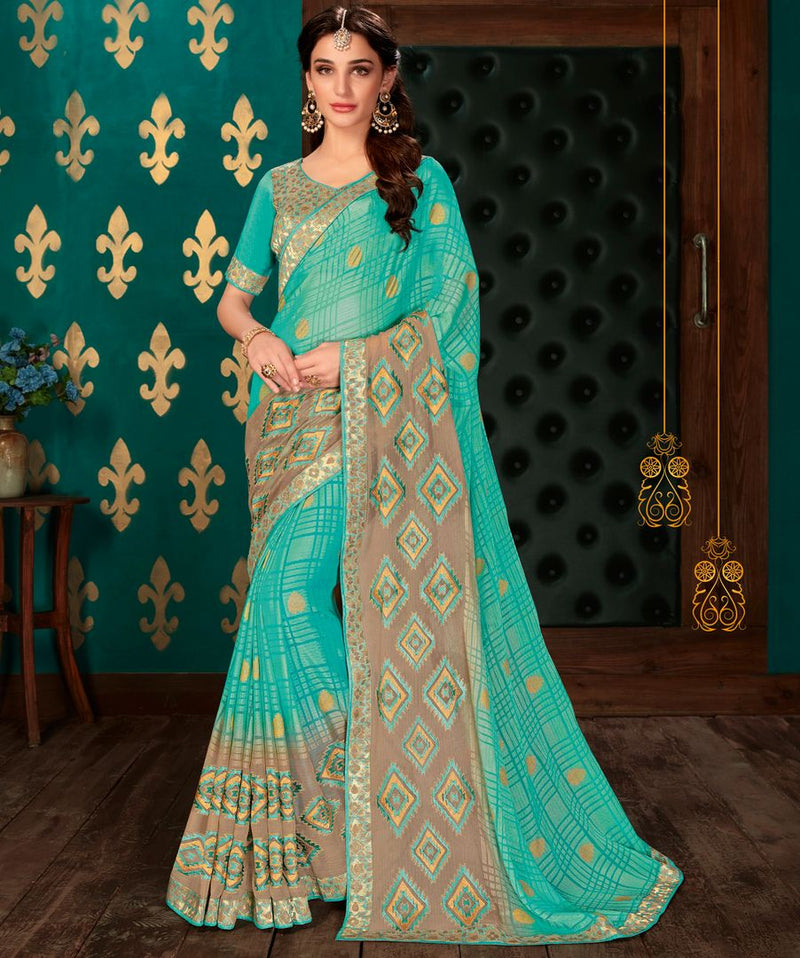 Sky Blue Color Chiffon Party & Function Wear Sarees : Manohara Collection  NYF-2409 - YellowFashion.in