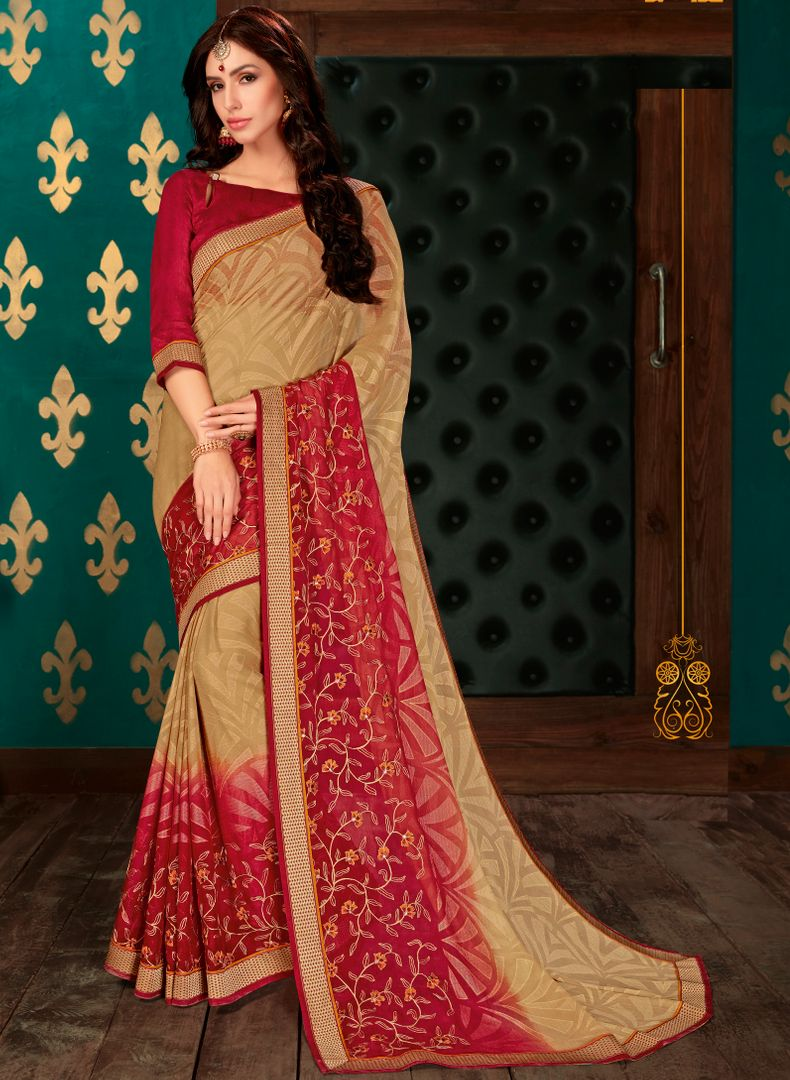 Light Coffee & Red Color Chiffon Party & Function Wear Sarees : Manohara Collection  NYF-2411 - YellowFashion.in
