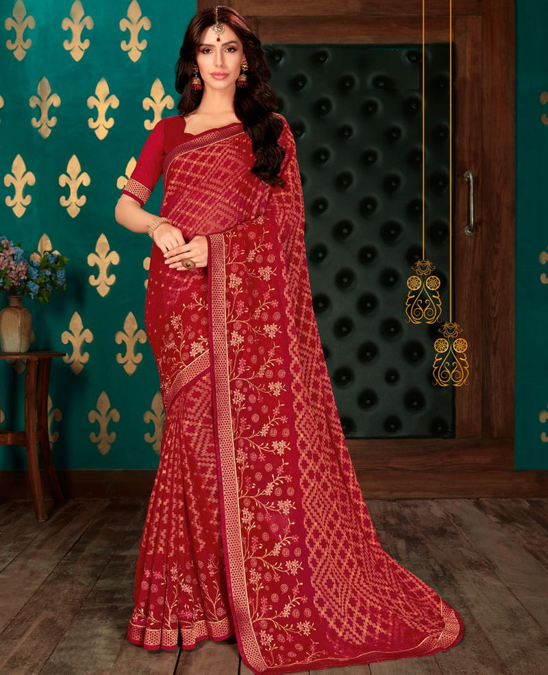 Maroon Color Chiffon Party & Function Wear Sarees : Manohara Collection  NYF-2413 - YellowFashion.in