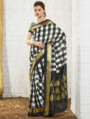 Black & Grey Color Bhagalpuri Special Occasion Sarees : Shamshwet Collection  YF-27552