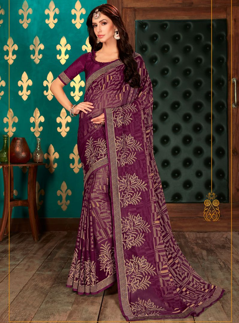Purple Color Chiffon Party & Function Wear Sarees : Manohara Collection  NYF-2415 - YellowFashion.in